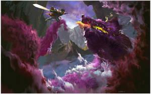 Dragon king vs Fox monster by bloodyman88