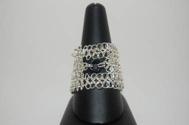 Large Rosette Chainmail Ring by FragilexAir