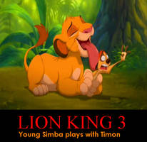 Young Simba plays with Timon by DirtyDirtySam