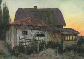 Dusk in Plotinnoe in the Crimea by DChernov