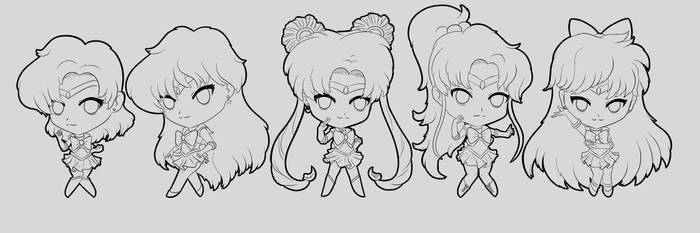 Sailor Moon Chibis (outline) by oOCrazyKittyOo