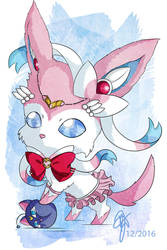 Chibi Crossover: Sylveon x Sailor Chibi Moon by oOCrazyKittyOo