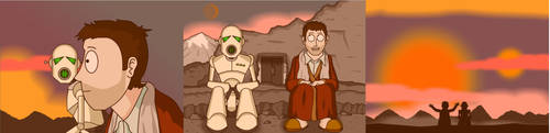 Arthur Dent and Marvin by Nick-of-the-Dead