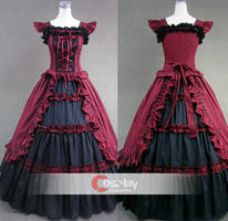 Classic Short Sleeves Ruffled Bandage Lolita Dress by wendywei2012