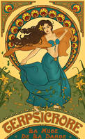 Terpsichore-Art Nouveau poster by aelirenn-kw