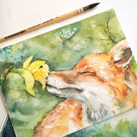 Fox with narcissus by JuliaKampanula