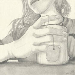 self portrait with tea by niemandswort