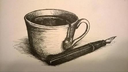 Tea and Fountain Pen by niemandswort