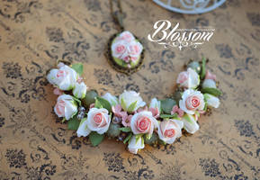 White coral roses, polymer clay by BlossomHandmade