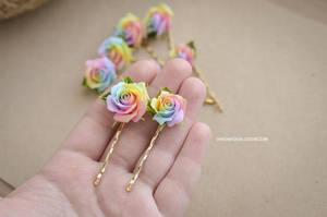 Pastel rainbow roses hairpin by BlossomHandmade