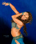Belly Dancer in Light Blue by GeneAlva