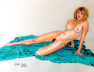 Nude on the Turquoise Sheet by GeneAlva