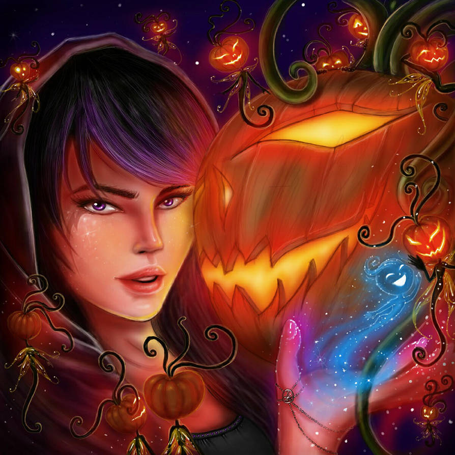 Halloween - Faery Pumpkin Awakening by EmanuellaKozas
