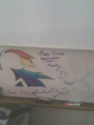 Rainbow Dash on my classroom board by HeadHunter300
