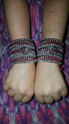 Chainmail Laced Cuffs. (Front) by ChainDreamzDesign