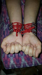 Chainmail Laced Cuffs.  (Back) by ChainDreamzDesign