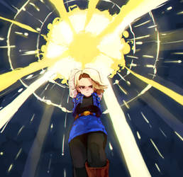 Android 18 Energy Wave by inkdluis
