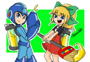 Megaman and Roll (Splatoon 25%) by VANESSA-PAOLA