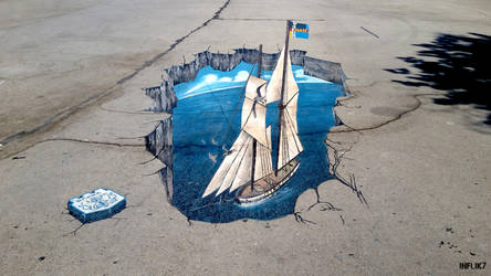 3D art in the center of Varna by INFLIK7