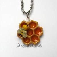 Bee on Honeycomb Necklace by StarfallAtDusk