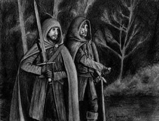 Aragorn and Halbarad pencils by AinuLaire