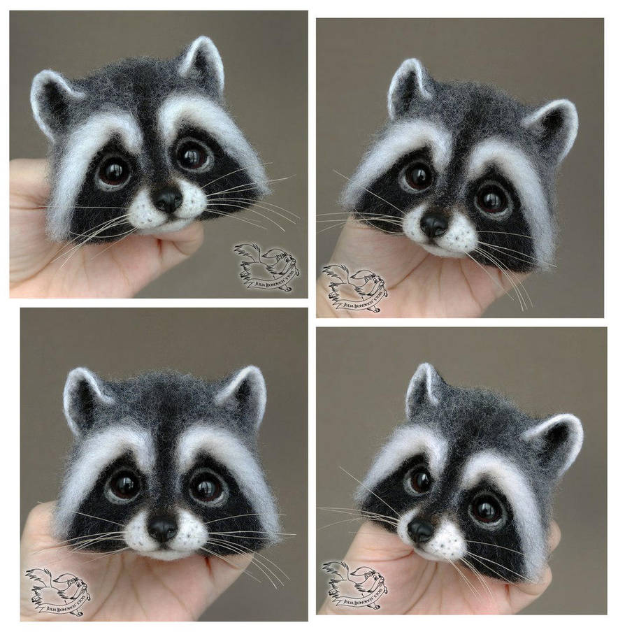 Needle Felted Brooch Raccoon by YuliaLeonovich