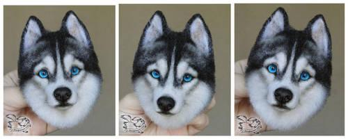 Needle Felted Brooch Siberian husky by YuliaLeonovich