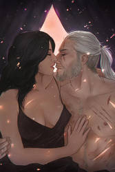 Geralt and Yennefer COMMISSION by Everybery