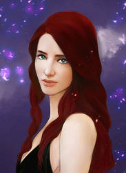 realistic portrait  redhead girl COMMISSION by Everybery