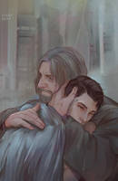 Hank and Connor - raining by Everybery