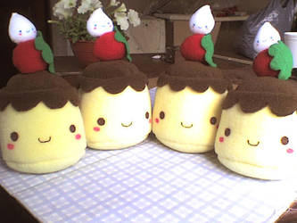 cute army of flan plushies by VioletLunchell