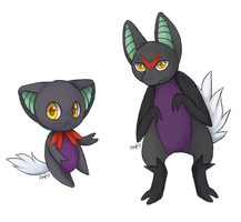 Fakemon: Velvux and Noirix by Amphany