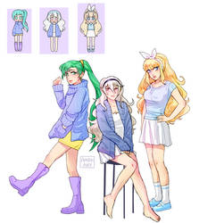Pastel Girls: Lyn, Corrin, Charlotte by Amphany