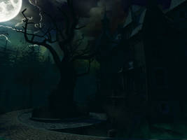Haunted house background 6 by indigodeep
