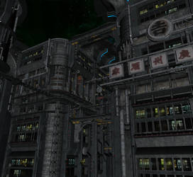 Sci fi city background by indigodeep