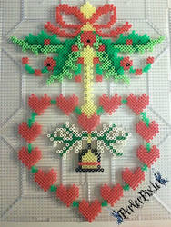 Holly Heart Wreath by PerlerPixie