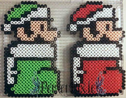 Luigi and Mario Stockings by PerlerPixie