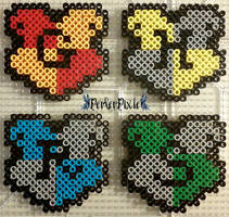 Hogwarts House Crests by PerlerPixie