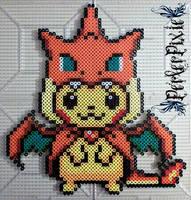 Pikachu in a Mega Charizard Y Hoodie by PerlerPixie