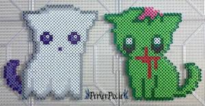 Ghost and Zombie Kitties by PerlerPixie