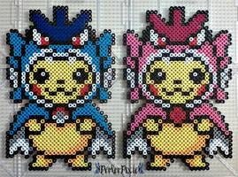 Pikachu Wearing Gyarados Hoodies by PerlerPixie