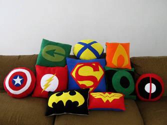 Super Hero Pillows by SailorAnime