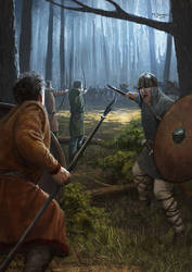 Carolingian forest melee by EthicallyChallenged