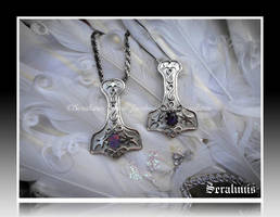 'Hammers of Thor' sterling silver pendants by seralune