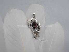 'Ruby dragon',  handmade sterling silver pendant by seralune