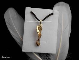 'Golden dragon' handmade brass pendant by seralune