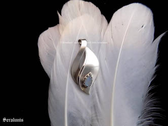 'Ghost Tear', handmade sterling silver pendant by seralune