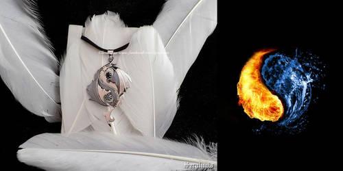 'Dragon Yin Yang', sterling silver pendant by seralune