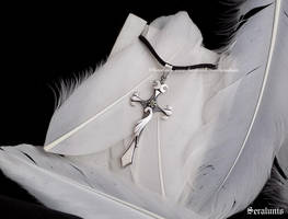 'Silver Cross', handmade sterling silver pendant by seralune