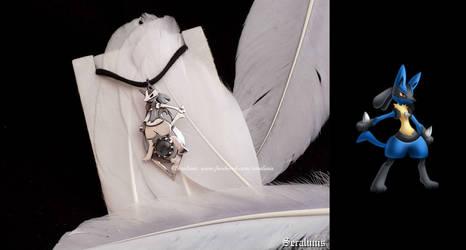'Lucario', handmade sterling silver pendant by seralune